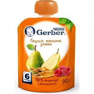 Пюре  Груша-малина-злаки с 6 месяцев, 90 г Gerber