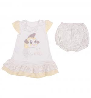 Комплект платье/шорты  Blyskotka, цвет: бежевый/желтый Ewa