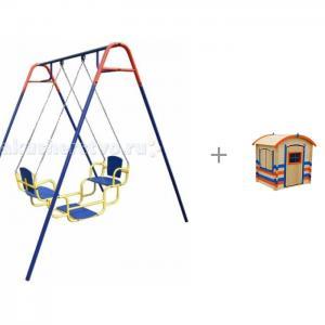 Качели  Дуэт и игровой домик для детей Paremo Оливер Пионер