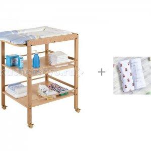 Пеленальный столик  Clarissa и Пеленка Mjolk Автобусы/Hello mommy 120х85 см Geuther