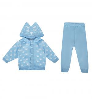 Комплект кофта/брюки  Киса, цвет: голубой/белый Уси-Пуси