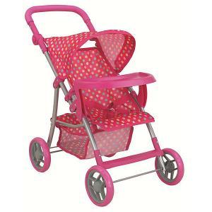Коляска со столиком для кукол Buggy Boom, розовый в горошек Melobo. Цвет: розовый