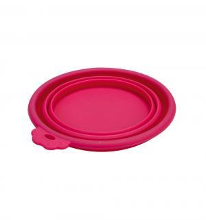 Миска для собак  силиконовая складывающаяся, цвет: розовый, 14*12.5см Beeztees