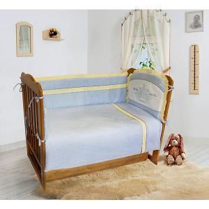 Комплект постельного белья из 6 предметов  Лунная прогулка голубой в сердечки Soni Kids. Цвет: голубой