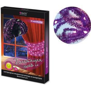 Новогодняя электрогирлянда  Блестящая нить 40 фиолетовых нанодиодов GLOS