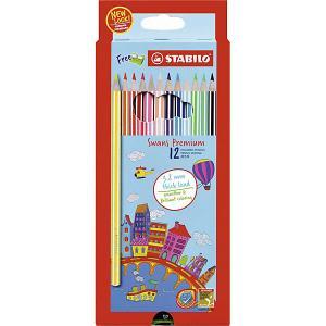 Набор цветных карандашей Stabilo Swans Premium edition, 12 цветов. Цвет: разноцветный