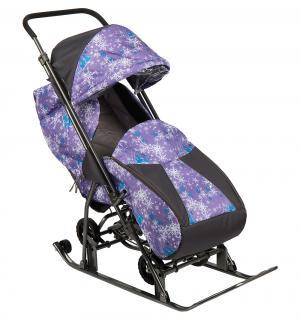 Санки-коляска  Снежинка Универсал, цвет: елки на фиолетовом Galaxy