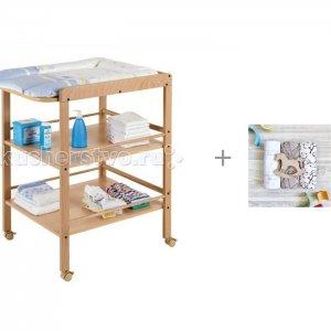 Пеленальный столик  Clarissa и Пеленка Mjolk Хлопок/Palm Tree/Hello mommy 120х85 см Geuther