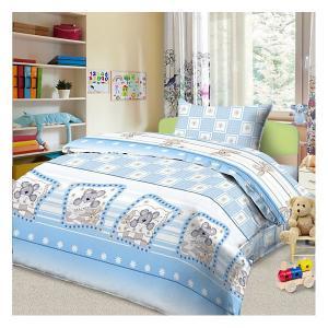 Детское постельное белье 3 предмета , простыня на резинке, BGR-83 Letto. Цвет: синий