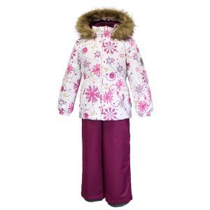 Комплект куртка/полукомбинезон  Wonder, цвет: белый/бордовый Huppa