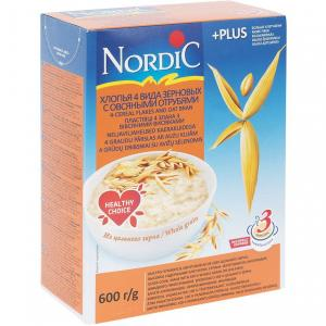 Каша  безмолочная 4 злака с овсяными отрубями 12 месяцев 600 г Nordic
