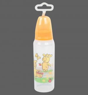 Бутылочка  с силиконовой соской полипропилен 0 мес, 250 мл, цвет: оранжевый Мир Детства