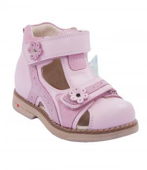 Сандалии закрытые для девочки (розовые) Orsetto. Цвет: розовый