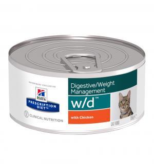 Влажный диетический корм Hills Prescription Diet для взрослых кошек w/d при нарушениях пищеварения и обмена веществ, курица, 156г Hill's