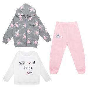 Комплект жакет/брюки/джемпер , цвет: серый/розовый Fun Time