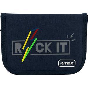 Пенал  Rock it, без наполнения Kite. Цвет: темно-синий