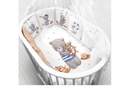 Комплект в кроватку  Мишка морячок (6 предметов) Луняшки