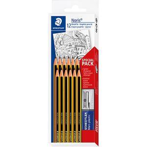 Набор чернографитовых карандашей Noris, НВ, 12 штук + ластик точилка, Staedtler