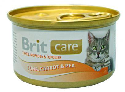Влажный корм  Care для взрослых кошек, тунец/морковь/горошек, 80г Brit