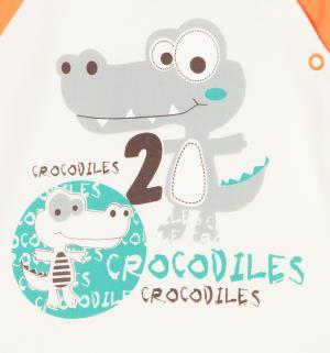 Комплект футболка/брюки  Croc, цвет: бежевый/оранжевый Aga