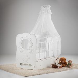 Детская кроватка  Карета маятник поперечный с ящиком Островок уюта