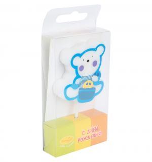 Свеча  Мишка голубой 4 см Патибум