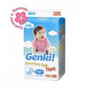Подгузники Nepia Premium Soft М (6-11 кг) 64 шт. Genki