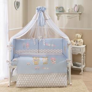 Комплект постельного белья  Венеция 4 предмета наволочка 40 х 60 см, цвет: голубой Perina