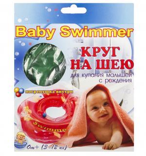 Круг  на шею + погремушка, цвет: зеленый Baby Swimmer
