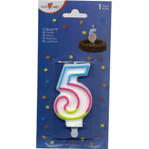 Свеча-цифра для торта  5 7,5 см., радужная Susy Card