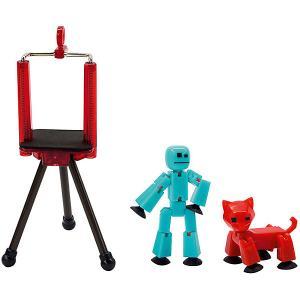 Игровой набор  Stikbot Студия с питомцем, Человечек красной кошкой Zing