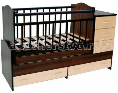 Кроватка-трансформер  Раиса с комодом маятник поперечный Ведрусс
