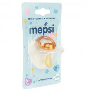 Соска-пустышка  Ортодонтическая латекс, с 6 мес, цвет: золотой Mepsi
