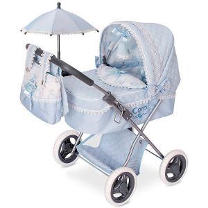 Коляска для кукол  Кэрол с сумкой и зонтиком, 60 см DeCuevas. Цвет: синий