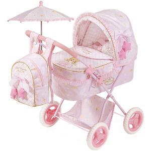 Коляска для кукол  Мария с рюкзаком и зонтиком, 60 см DeCuevas. Цвет: розовый/белый