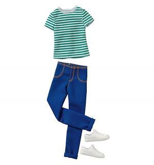 Одежда для кукол  белая футболка в зеленую полоску с синими брюками Кена Barbie