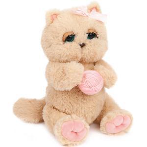 Мягкая игрушка  Киска Персик с клубком, бежево-розовая Angel Collection. Цвет: бежевый/розовый