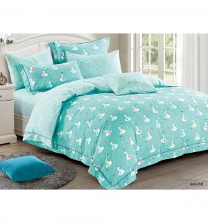 Комплект постельного белья  Птицы, цвет: бирюзовый 3 предмета Cleo