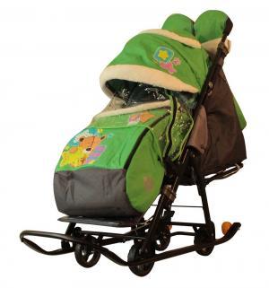 Санки-коляска  Мишка со звездой, цвет: зеленый Galaxy