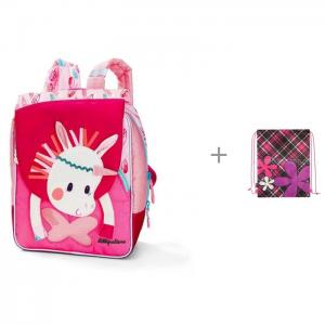 Рюкзак А5 Единорожка Луиза и мешок для обуви Maxitoys Цветы сердечки Lilliputiens