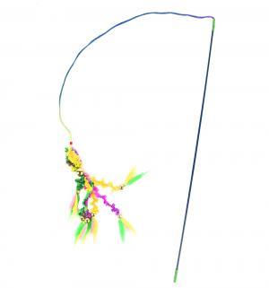 Игрушка для кошек  Удочка 6 вельветовых хвостиков с перьями, цвет: разноцветный, 46см I.P.T.S.
