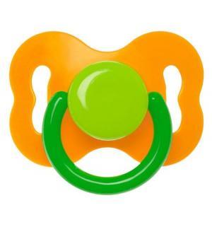 Пустышка  Бантик латекс, с рождения, цвет: оранжевый/зеленый Курносики