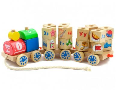 Деревянная игрушка  Паровозик Алфавит Мир деревянных игрушек