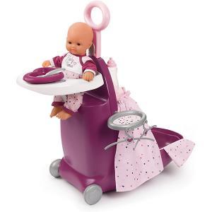 Набор для кормления и купания пупса в чемодане  Baby Nurse Smoby. Цвет: фиолетово-розовый
