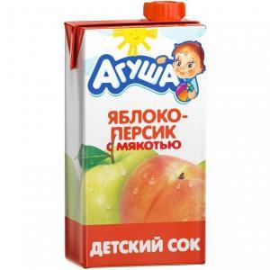 Сок  яблоко-персик с мякотью, 500 мл Агуша