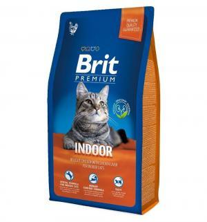 Сухой корм  Premium для взрослых кошек при домашнем содержании, курица/печень, 1.5кг Brit