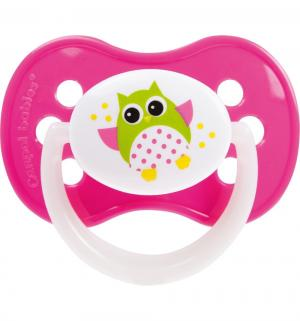 Пустышка  Owl силикон, с 18 мес, цвет: розовый Canpol