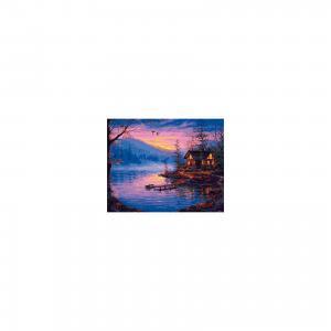 Холст с красками по номерам Закат на озере 40х50 см Издательство Рыжий кот