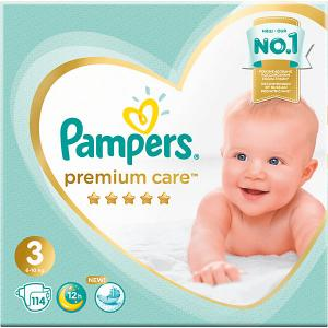 Подгузники  Premium Care 6-10 кг, 114 шт Pampers