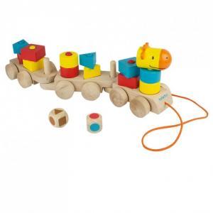 Деревянная игрушка  развивающая Паровозик Учим формы Beleduc